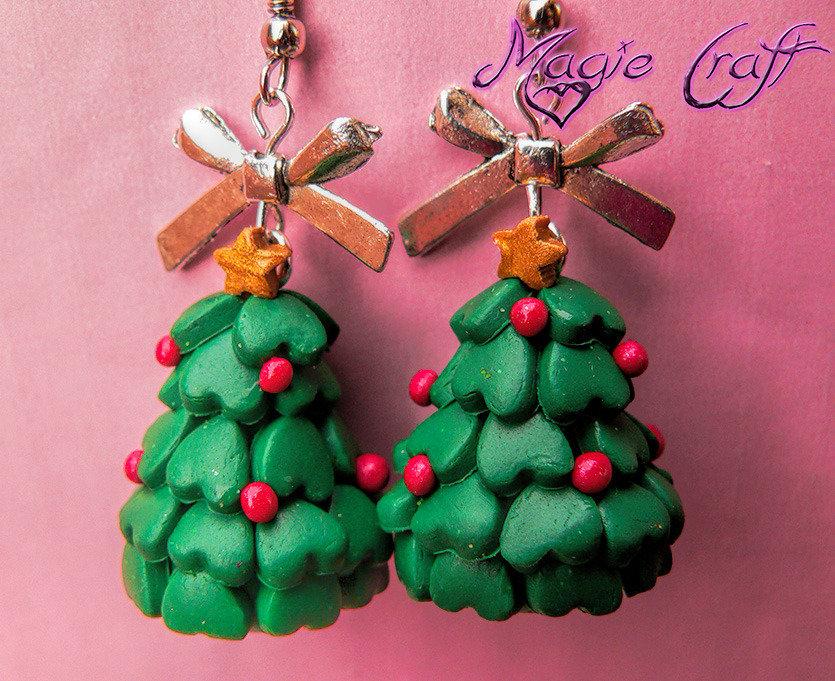 Orecchini in Fimo Albero di Natale