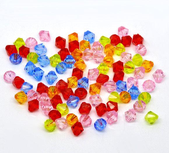 25 Distanziatori Perle  Bicono Sfaccettate in Acrilico 8x8mm colori mix