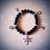 Bracciale perle nere elastico e ciondoli MODA 2014 + SCATOLINA REGALO!IDEA REGALO