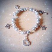 Bracciale perle grigie elastico e ciondoli MODA 2014 + SCATOLINA REGALO!IDEA REGALO