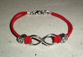 Infinity San Valentino - Braccialetto linea Infinito in alcantara con beads silver tone