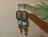 Orecchini con lanterne marocchine, agata e turchese - Fatima