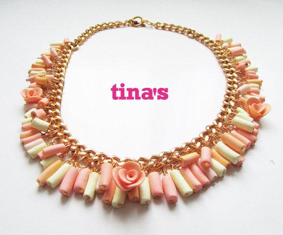 Collana Necklace in Fimo e Cernit cilindri e rose - rosa - oro vaniglia