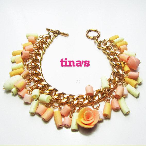 Bracciale in Fimo e Cernit cilindri e rose - rosa - oro vaniglia