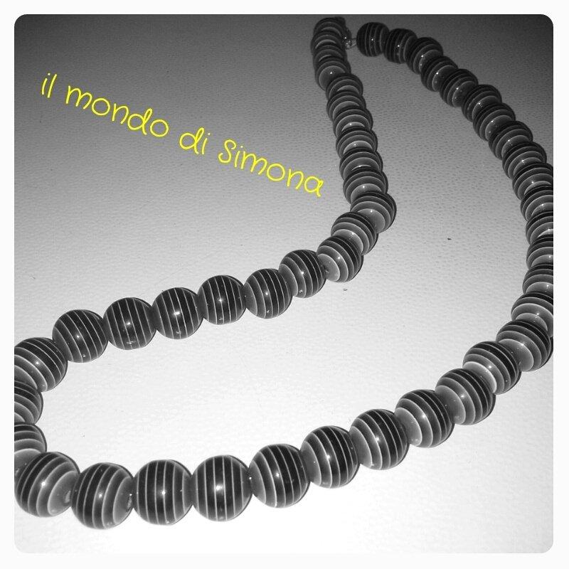 girocollo perle nero/grigie