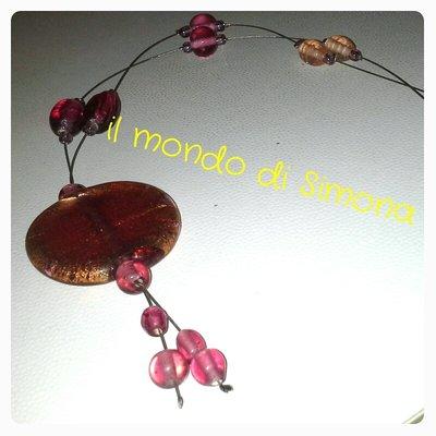 collana pendente rosa