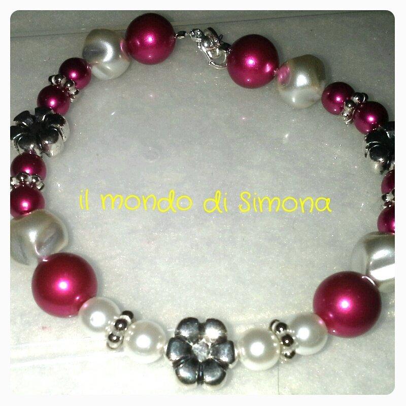 braccialetto perle bianche e rosse