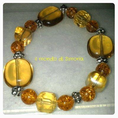 braccialetto elastico giallo ocra e ambra