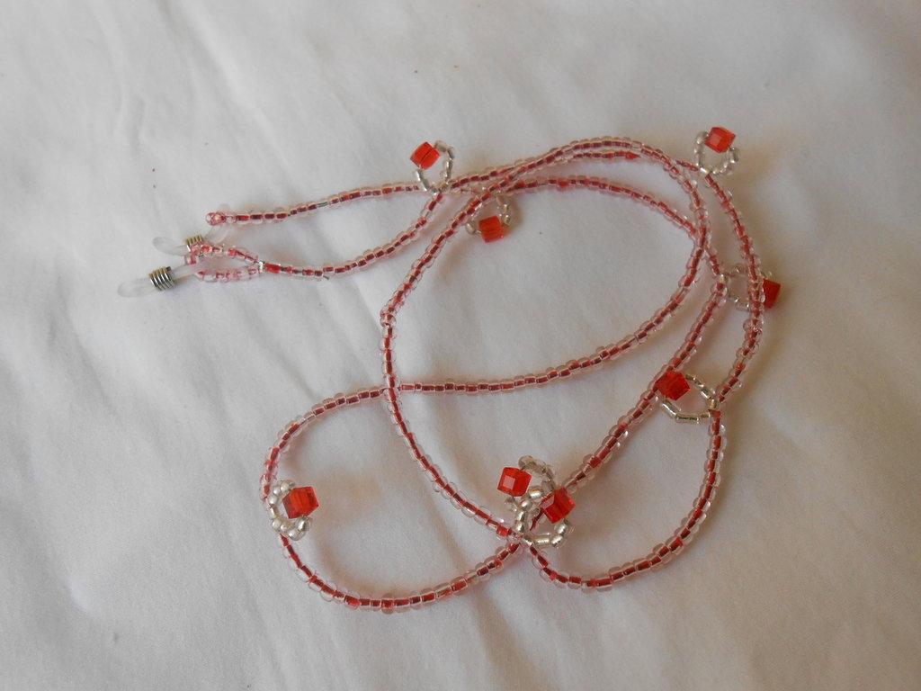 Catenella Reggi Occhiali Fatta A Mano Con Perline E Cristalli Ros