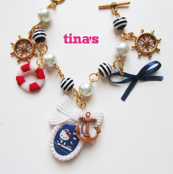 Bracciale Hello Kitty in fimo cernit mare sea ancora timone