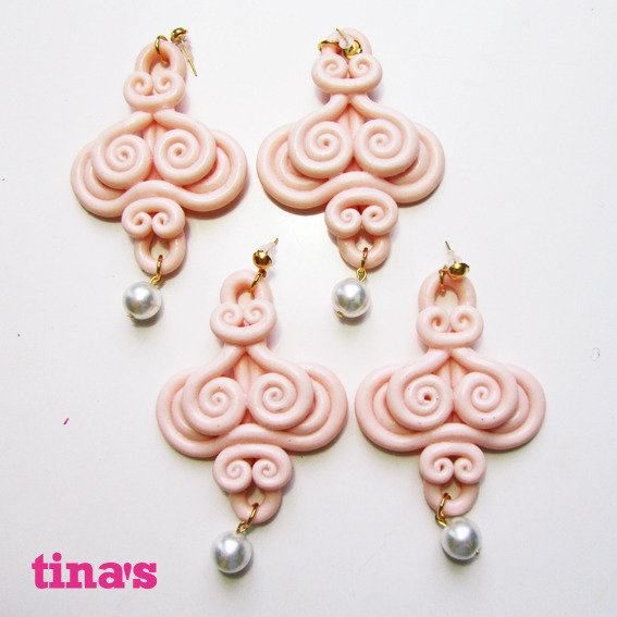 Orecchini  handmade ghirigori fimo - cernit rosa