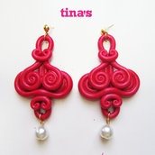 Orecchini handmade ghirigori fimo - cernit color rosso rubino