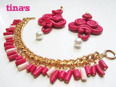 Parure bracciale e orecchini rosso rubino  in fimo e cernit fatta a mano - handmade - gold -oro