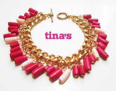 Bracciale handmade in fimo e cernit con catena dorata e perle rosso rubino