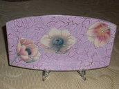 Piatto rettangolare decorato a decoupage
