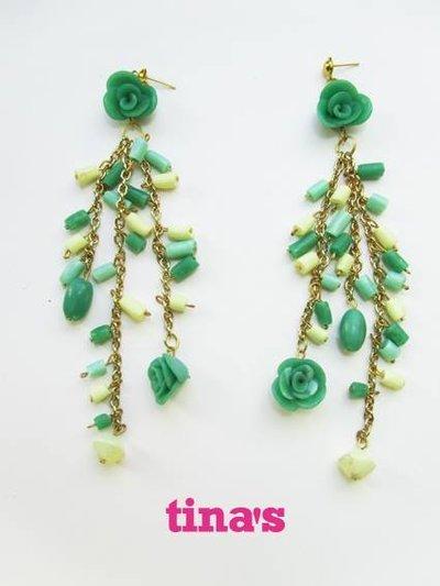 Parure bracciale e orecchini fatti a mano in fimo e cernit nei toni del verde