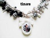 Collana Necklace Crudelia Demon zebra in Fimo e Cernit - cammeo -bianco e nero