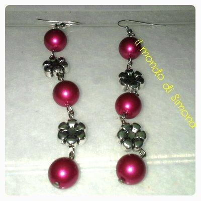 orecchini pendenti perle rosse