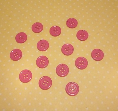 20 bottoni fucsia con foro per gancino