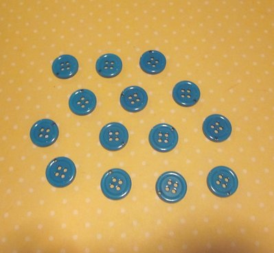 20 bottoni blu con foro per gancino