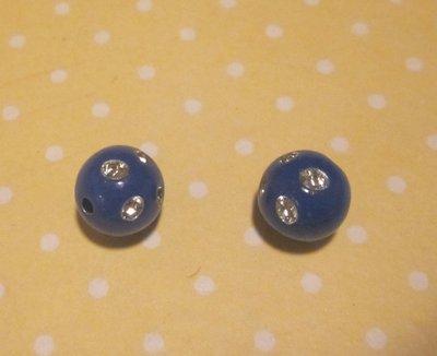 5 palline blu con strass
