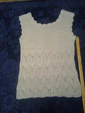 Canottiera beige in maglia cotone