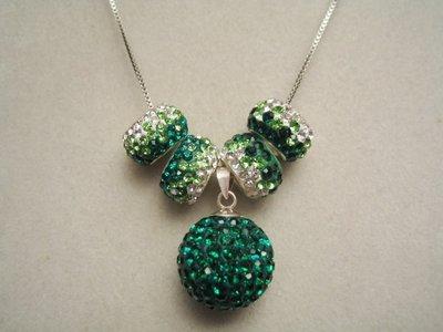 """""""Emerald Green Pavè"""" - Collana con pallina e perline strass"""