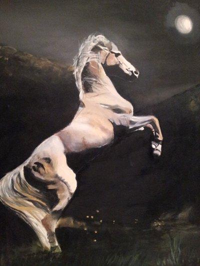 """olio su tela """"cavallo e luna!"""