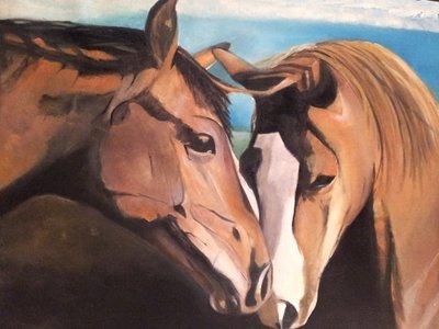 """olio su tela""""coppia di cavalli"""""""