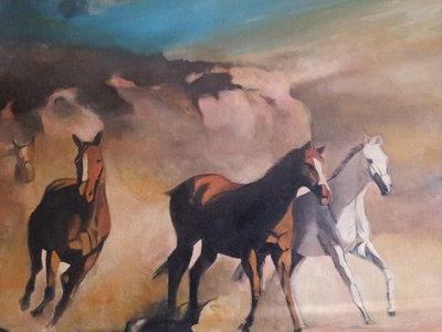 "olio su tela ""branco di cavalli"""