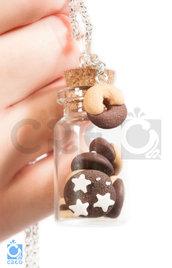 Collana Mini Bottiglia con Biscotti | fimo