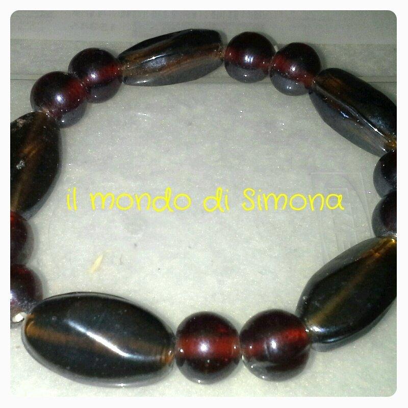 bracciale elastico perle rosse