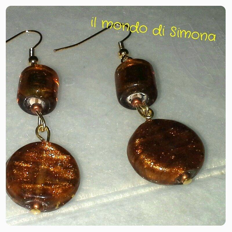 orecchini pendenti color oro/ambra
