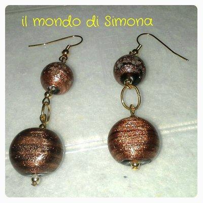 orecchini perle vetro marrone