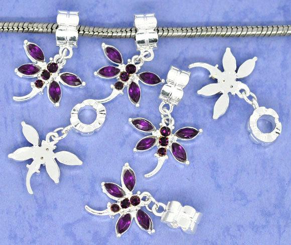 Perle  Libellula Strass viola scuro in Acrilico con gancio a Foro Largo 31x20mm