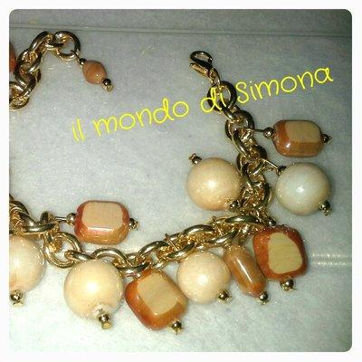braccialetto con pele di vetro beige