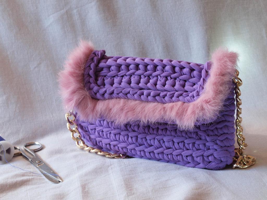 borsa donna in fettuccia fatta a mano all'uncinetto, crochet handbags