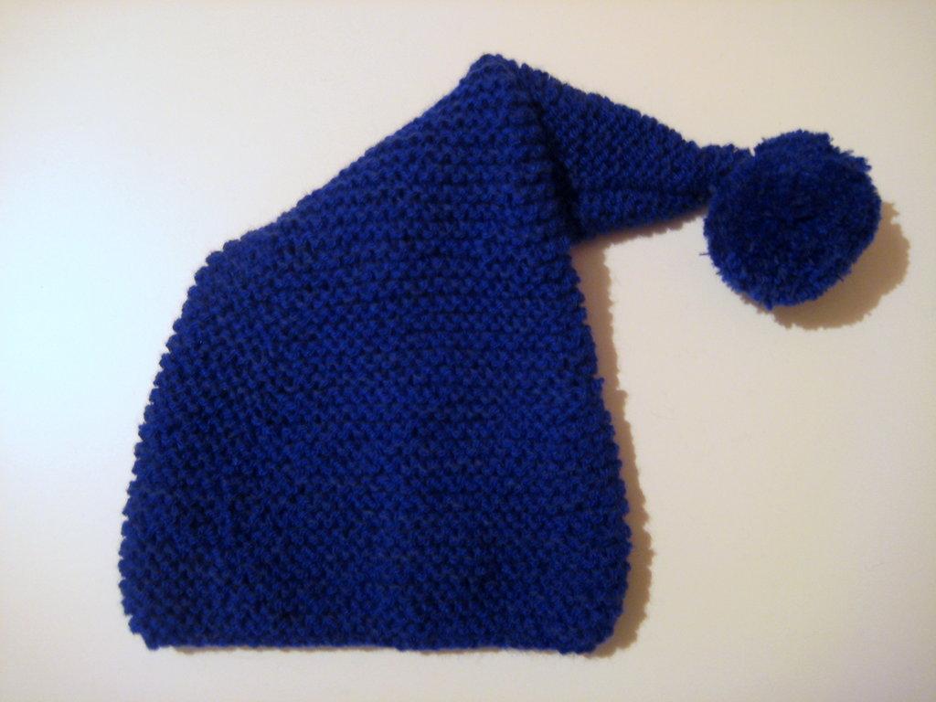 Cappello bambino/bambina blu con pon-pon