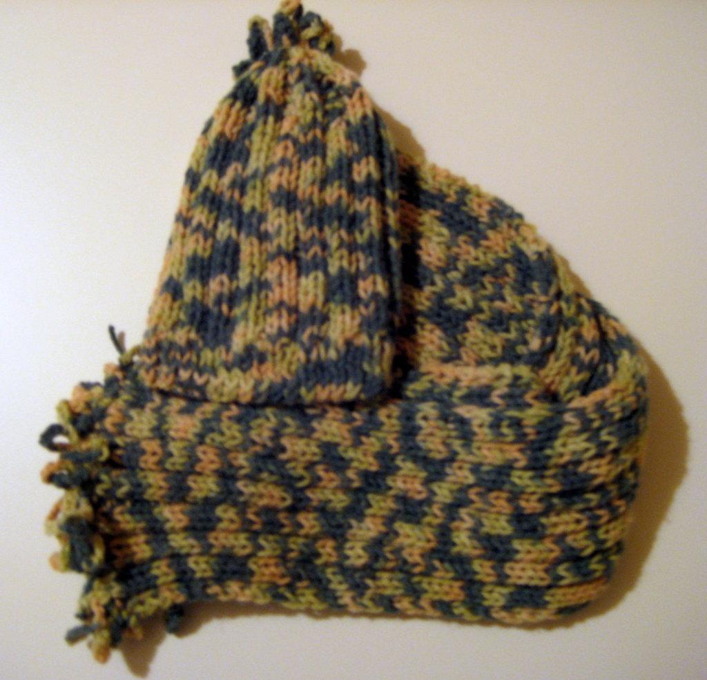 Completo sciarpa / cappello bambino o bambina melange verde e giallo