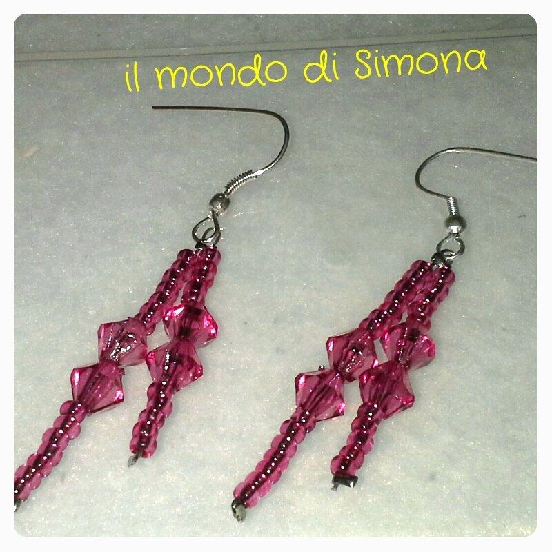 orecchini conteria rosa