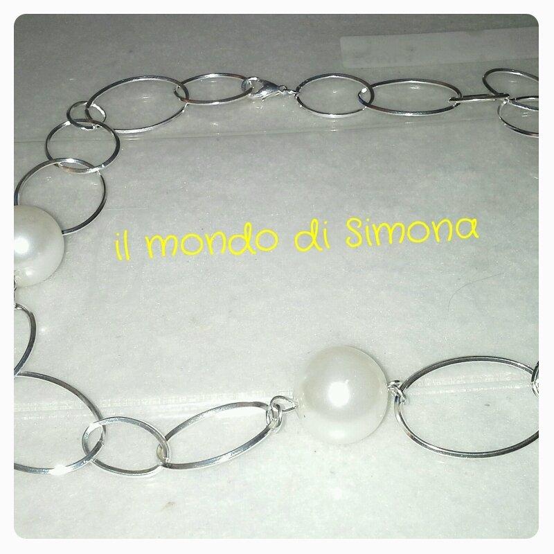 girocollo catena argento e perle