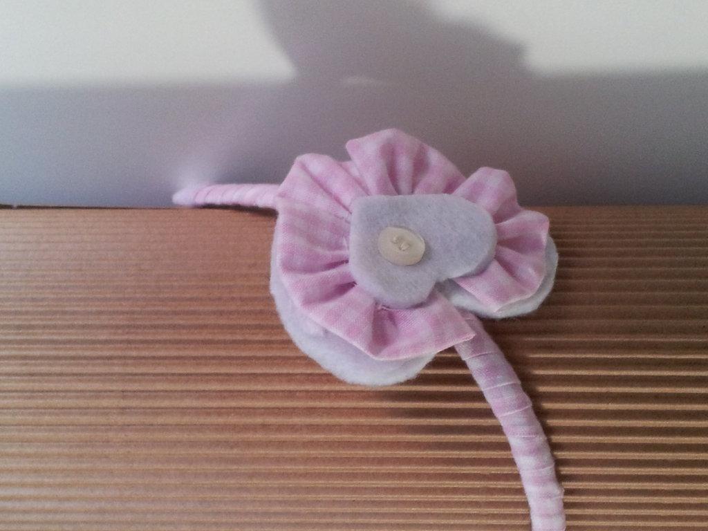 Cerchietto a quadrettini bianco rosa