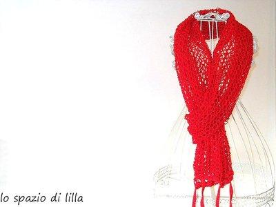 "Stola, sciarpa, infinity in lana e lurex ai ferri ""Bollicine"""