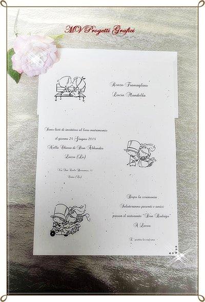 """PARTECIPAZIONE di matrimonio simpatica - collezione """"BIMBI SPOSI"""" La storia"""