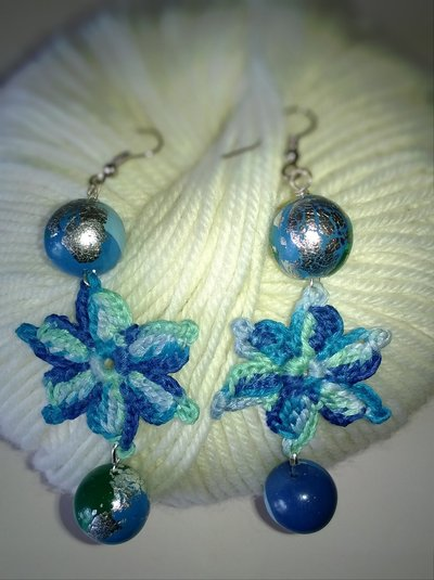 Orecchini Crochet Fiore Blu