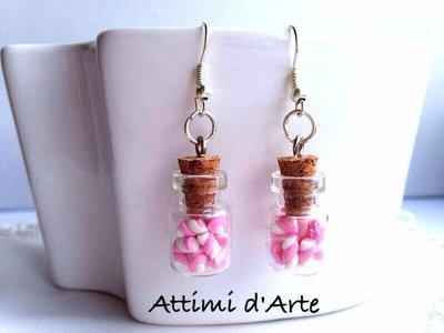 orecchini pendenti mini boccettine con marshmallow