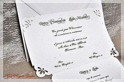PARTECIPAZIONE di matrimonio decorata a mano con FIORI e FARFALLE