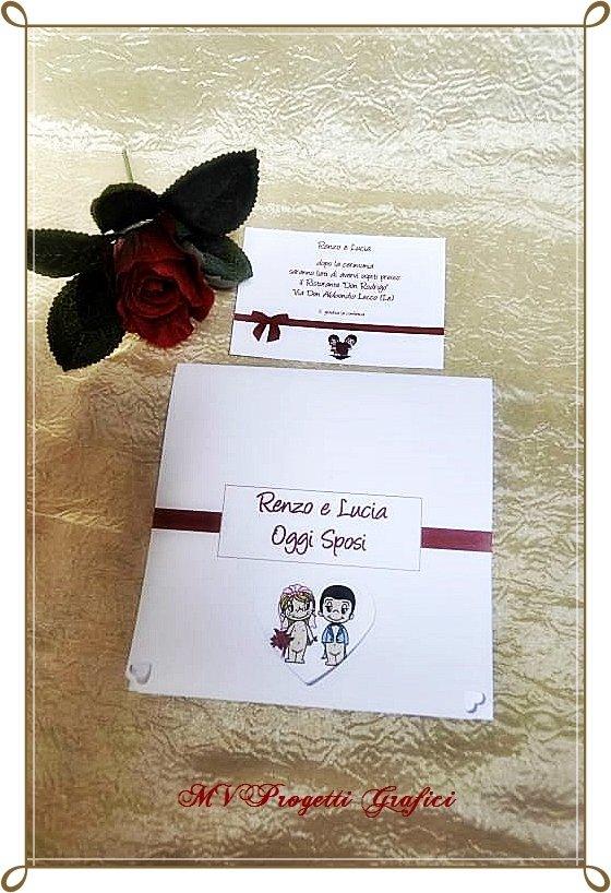"""PARTECIPAZIONE di matrimonio pieghevole rossa - collezione """"LOVE is.."""" - decorata a mano e personalizzabile"""