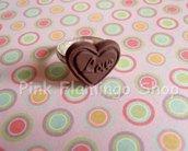 Anello cioccolatino cuore - realizzato a mano in Fimo