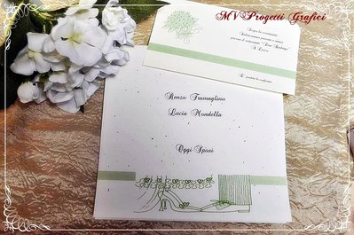 PARTECIPAZIONE di matrimonio QUADRATA PIEGHEVOLE - elegance collection